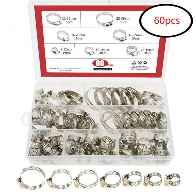60 PCS/Box Multi Size 8mm 38mm Stainless Steel Hoop Clamp Hose Clamp Stainless Steel Set automotive pipes clip Fixed tool