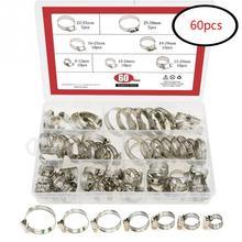 60 stks/doos Multi Size 8mm 38mm Rvs Hoepel Slangklem Rvs Set automotive leidingen clip Vaste tool