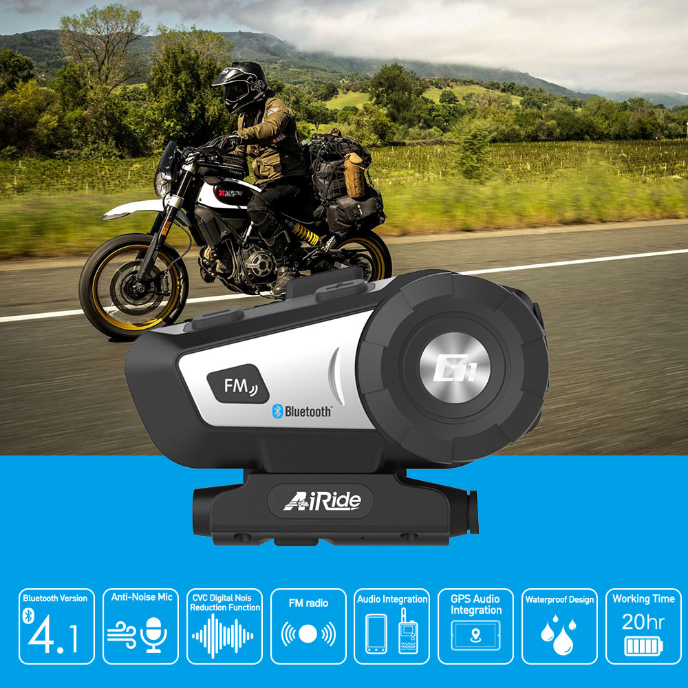 AiRide G1 Motorcycle Helmet Bluetooth Headset Waterproof Moto BT 10m Wireless Headphone FM Voice Command Bluetooth 4.1