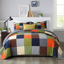 Quality Bedspread Patchwork Quilt Set 3pcs Handmade Coverlets Cotton Quilts Bed Covers Shams King Queen Size bedding Blankets