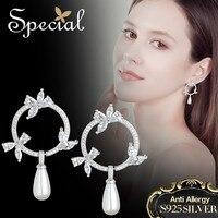 Special Brand Fashion 925 Sterling Silver Ear Pins Drop Earrings AAA Zirconia Pearl Earrings Gifts For