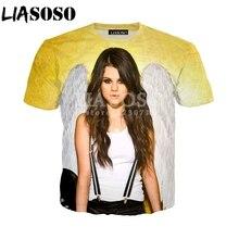 d2511f4bae3c LIASOSO New Fashion Men Women Short Sleeve T-Shirt 3D Print Actor Singer Selena  Gomez