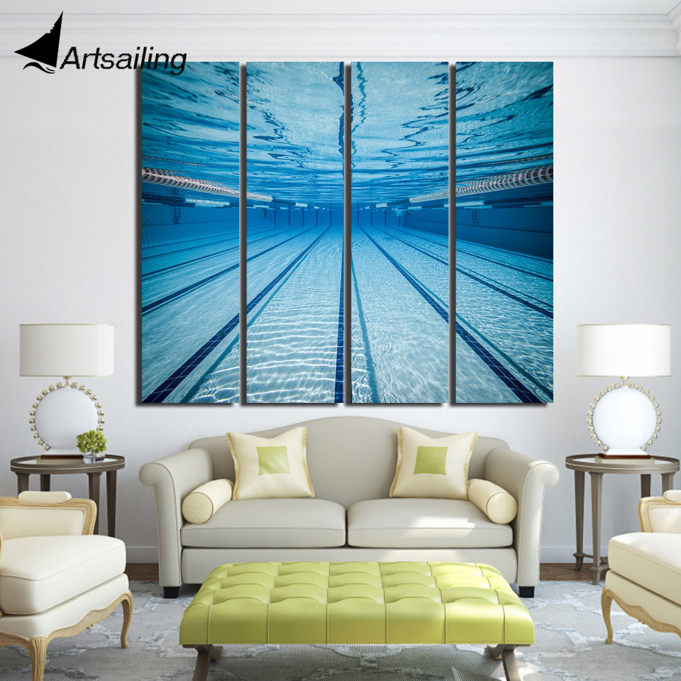US $11.56 40% OFF 4 piece canvas painting swimming pool underwater wall  pictures for living room posters and prints Free shipping/up 1411D-in  Painting ...
