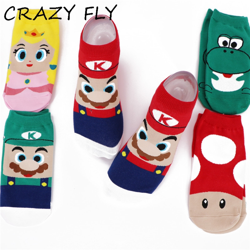 CRAZY FLY Fashion Hot Sale Cotton Women   Socks   Funny Cartoon Super Mario Luigi Yoshi Crazy   Socks   Ankle Short   Socks   Summer Style