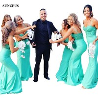 Sheath Sweetheart Spaghetti Straps Turquoise Green Bridesmaid Dresses With Lace Bodice Long Wedding Party Gowns BDS020