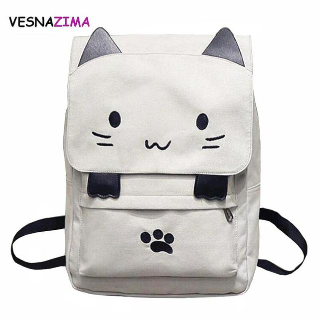 e109d2843e43 Cute Cat Canvas Backpack Cartoon Embroidery Backpacks For Teenage Girls  School Bag Casual Black Patchwork Rucksack