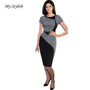 KLV 1PCS Women Sexy Office Bodycon Dresses Plus Size 16da9e7ed423