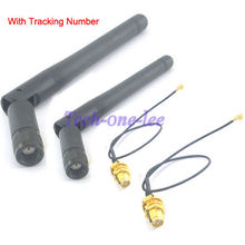 2PCS/lot 3dBi 2.4GHz RP-SMA Male Wifi Antenna + IPX to RP-SMA Jack Male Pin Extension Cord Pigtail Cable