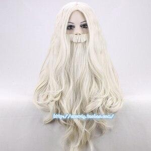 Image 1 - Peruca de dumbledore com barba gandalf role play cabelo longo loiro trajes festa perucas 65cm + peruca boné