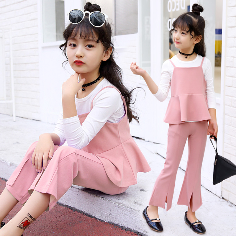 2017 Brand Girls Sport Clothes Set Girls Autumn Spring  Suspenders+T-Shirt+Pants 3 Pieces Child School Fashion Clothing Set 2017 brand girls print striped clothes set for autumn spring girls long sleeve top pants girls school hip hop sport clothing set