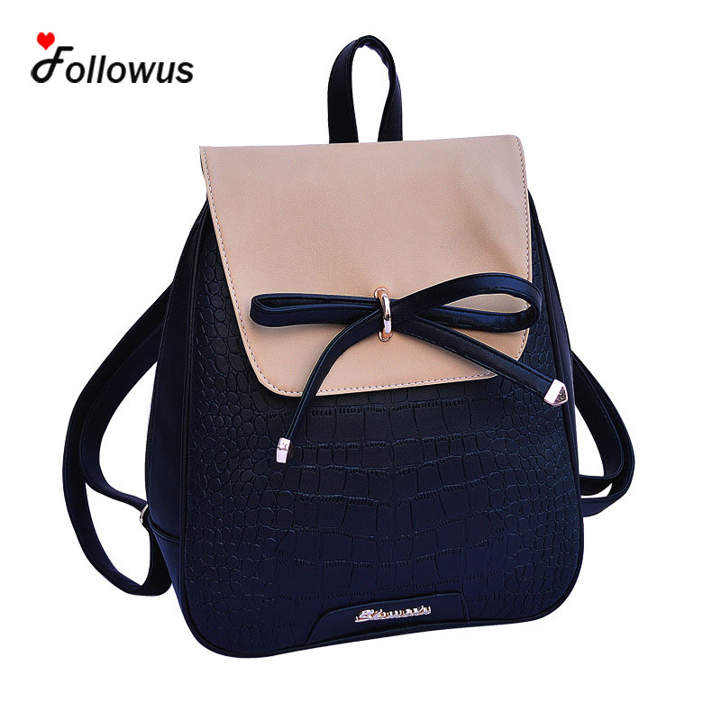 ФОТО Ladies Fashion Backpack 5 Colors Girls Campus New Bowtie Cute 2016 Casual Teenagers Schoolbags