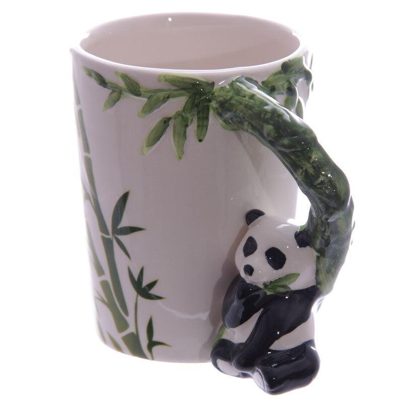 Free Shipping 1 Piece Animal Elephant Shaped Handle Mug Creative Design Ceramic Coffee Milk Tea Mug 3D Animal Shape Panda Cup