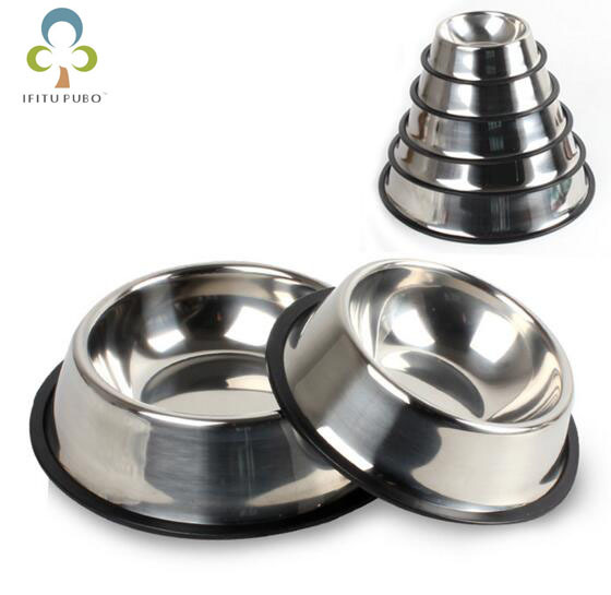 Pet Round Bowl Cat and Dog Food Bowl Feeding Bowl Stainless Steel Anti-skid  Frozen Dog LYQ e807daf75