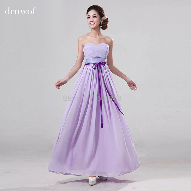 2017 Strapless Bridesmaid Long Dresses Hot Pink Red Purple Navy Blue Sleeveless Ribbons Off The Shoulder