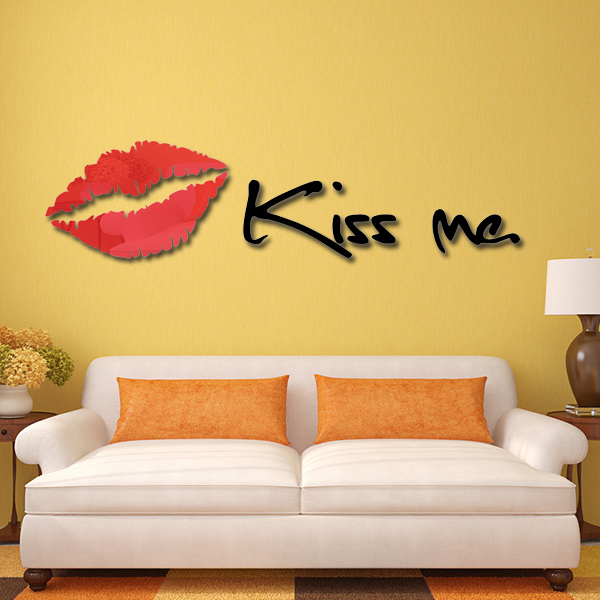 3D Lips Kiss Me Wall Stickers home decor creative wall decals living ...