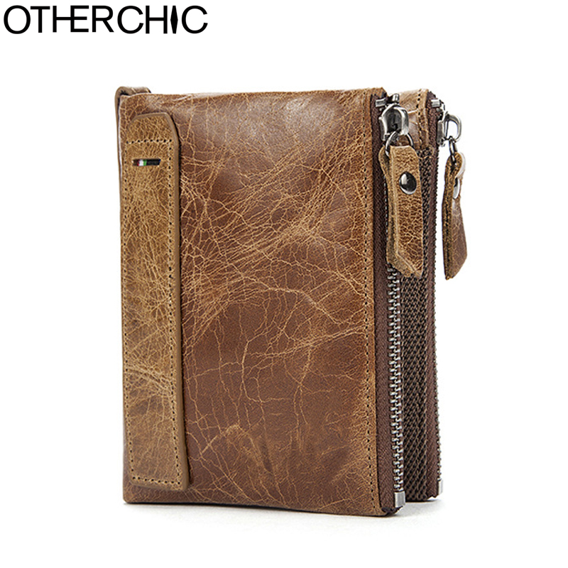 OTHERCHIC Genuine Crazy Horse Cowhide Leather Men Wallet Short Coin Purse Small Vintage Wallet Brand High Quality Purse 7N05-10 2017 genuine cowhide leather brand women wallet short design lady small coin purse mini clutch cartera high quality
