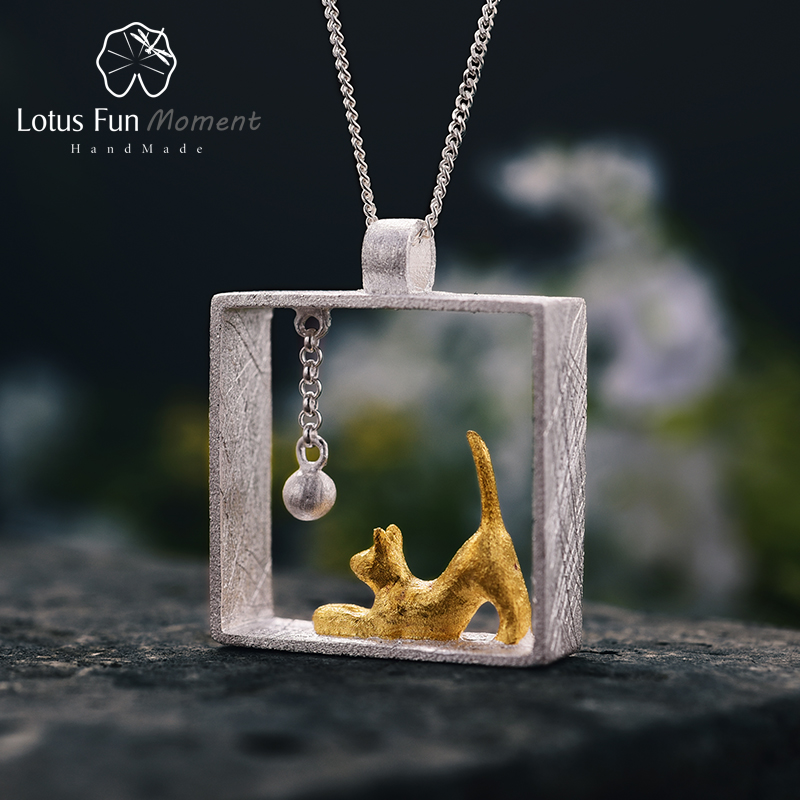 Lotus Fun Moment Real 925 Sterling Silver Handmade Fashion Jewelry Fashion Cat Playing Balls Pendant without Necklace for Women lotus fun real 925 sterling silver handmade fine jewelry creative cat playing balls pendant without chain acessorios for women