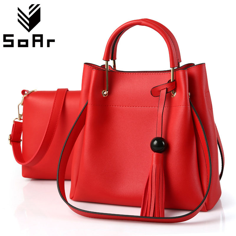 SoAr Women Bag Luxury Brand Leather Women Messenger Bags New 2Pcs Composite Bag Fashion Bucket Female Large Tote Hot Salling 4 aftermarket free shipping motorcycle parts eliminator tidy tail for 2006 2007 2008 fz6 fazer 2007 2008b lack