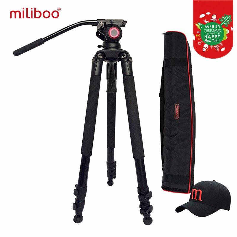 Miliboo MTT701A Portatile In Alluminio treppiede per Videocamera Professionale/Video Macchina Fotografica/DSLR Treppiede, Idraulico con Testa A Sfera