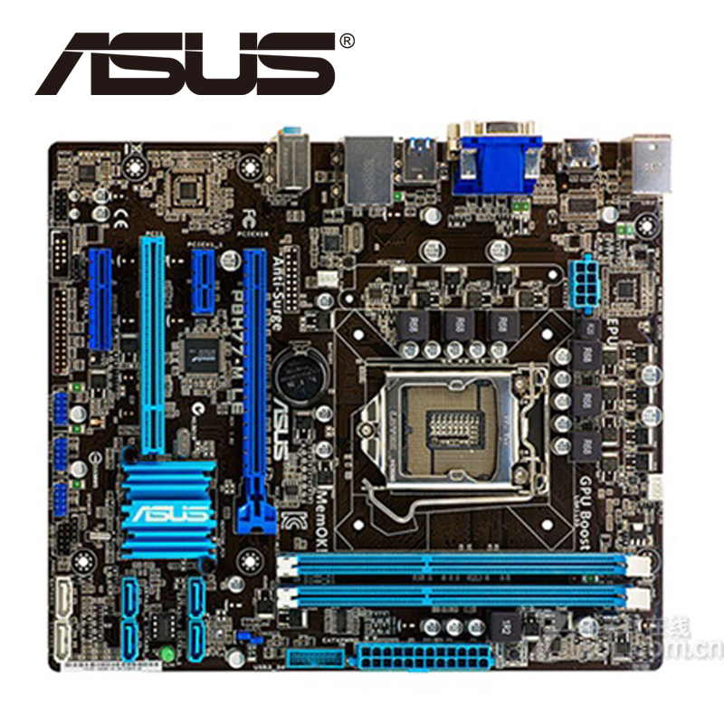 Asus P8H77-M LE Desktop Motherboard H77 Socket LGA 1155 i3 i5 i7 DDR3 16G uATX UEFI BIOS Original Used Mainboard On Sale original used desktop motherboard for asus m4a88t m a88 support socket am3 4 ddr3 support 16g 6 sata2 uatx