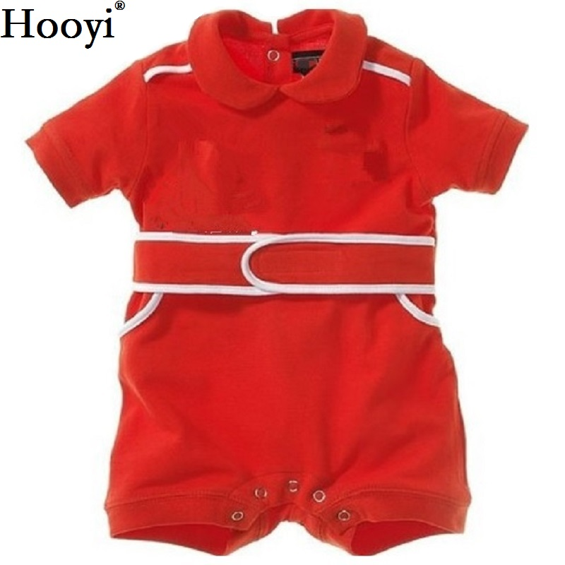 Hooyi Baby Romper Red Racing Suit Costumes Summer Short Sleeve Cycling Shirt Baby Boy Clothes 100% Cotton Newborn Jumpsuits 0-2Y