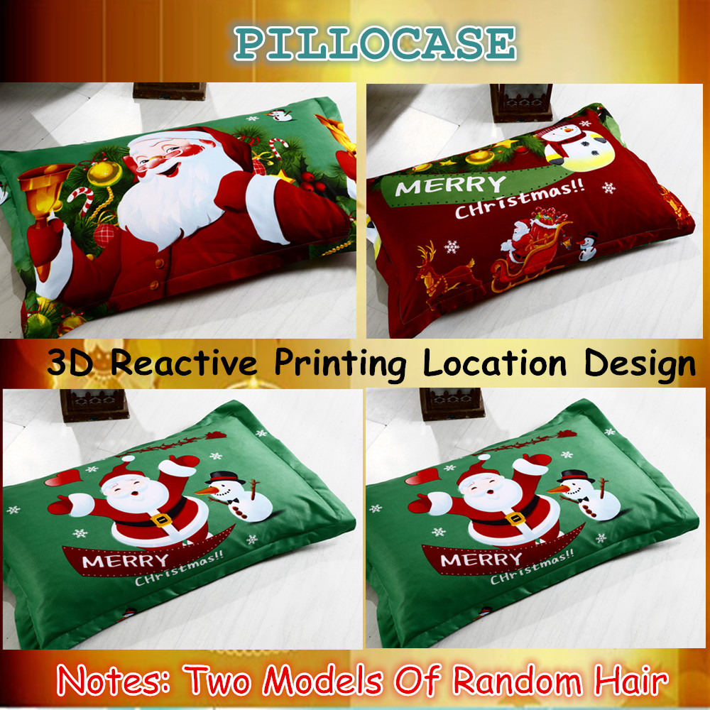 Great For Christmas, Set 4Pcs Christmas Santa Clause, 3D Bedding Set Duvet Cover Set,Sheet, Pillowcase, Sham Covers 37