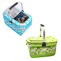 New Camping Outdoor Picnic Basket Portable Folding Large Picnic Bag Basket Food Storage Bags Handbags BB55