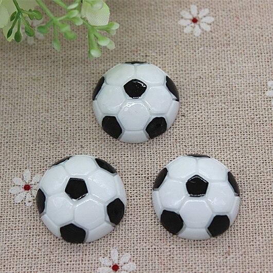 5 Black and White Soccer DIY Bow Ponytail Center Flat Back Acrylic Embellishment 1.25 Soccer Resins Football Cabochons