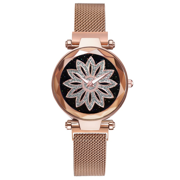 Luxury Rose Gold Women Mesh Magnet Buckle Watches Hot Fashion Flowers Elegant Ladies Wristwatches Female Magnetic Watch Clock