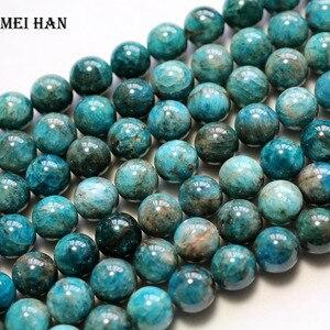 Image 3 - Meihan großhandel natürliche (1 strand/set) 11,5 12mm blau apatit lose perlen mode edelstein perlen für schmuck machen diy