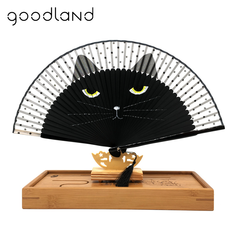 Besplatna dostava 1kom Japanski Svila Slikano Cartoon Cat Folding Fan Kawaii Pocket Fan Vjenčanje favorizira Dekoracija Creative Poklon