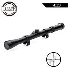 LUGER 4x20 охотничьи оптические прицелы тактическая оптика рефлекторный прицел Crosshair прицел с 11 мм рейку For.22 калибра Воздушный пистолет