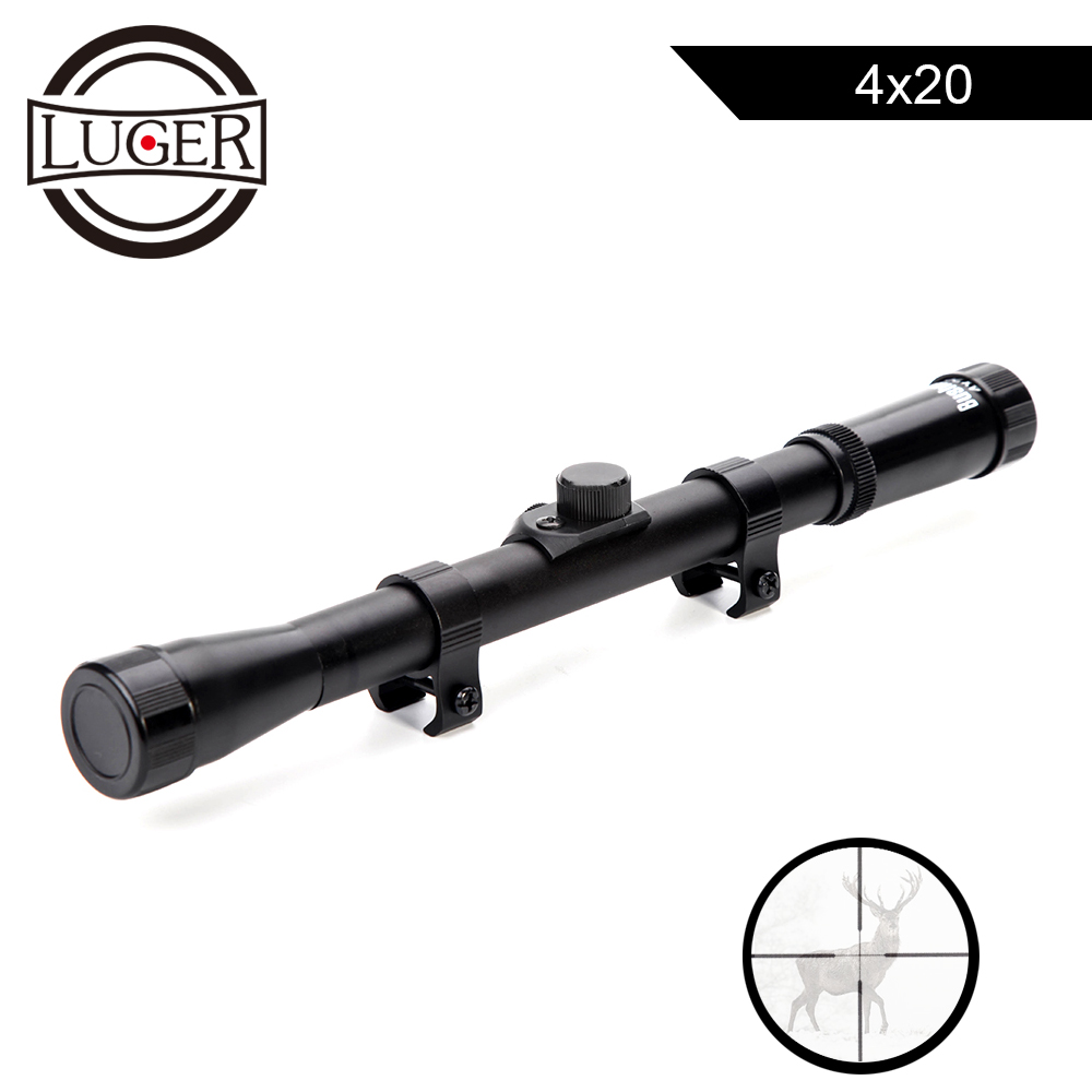 LUGER 4x20 Caça Mira Reflex Mira Riflescopes Tactical Optics Scope Com 11mm Rail Mount For.22 Calibre Ar arma