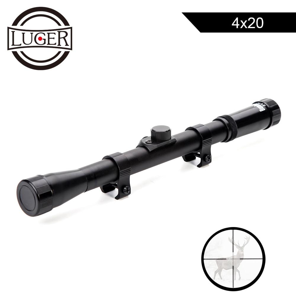 LUGER 4x20 Caça Mira Reflex Mira Riflescopes Tactical Optics Scope Com 11mm Rail Mount For.22 Calibre Ar arma