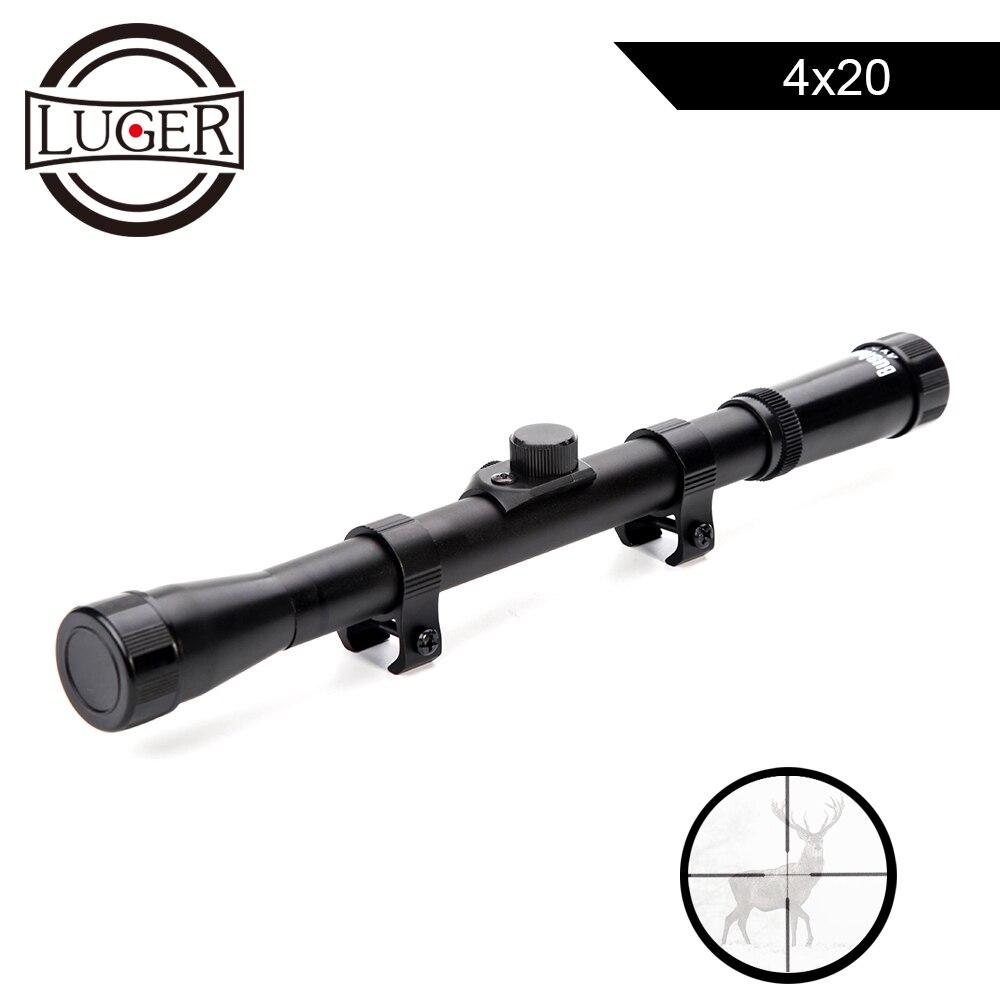 LUGER 4x20 caza visores tácticos óptica reflejo vista retícula alcance con 11mm montaje carril For.22 calibre aire arma