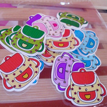 2015 New 100PCs MIXED Colors Lovely School bag Shape Two Hole Wooden Buttons 32mm x28mm