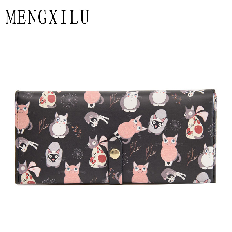 MENGXILU Fashio Wallet Female Cat Anime Women Purses Leather Cute Wallets Long Card Holder Coin Purses Small Korean Women Wallet 2016 small umbrella oil skin slim candy color purses multi card package long women wallet ladies cute sweet wallets clutch ba177 page 3