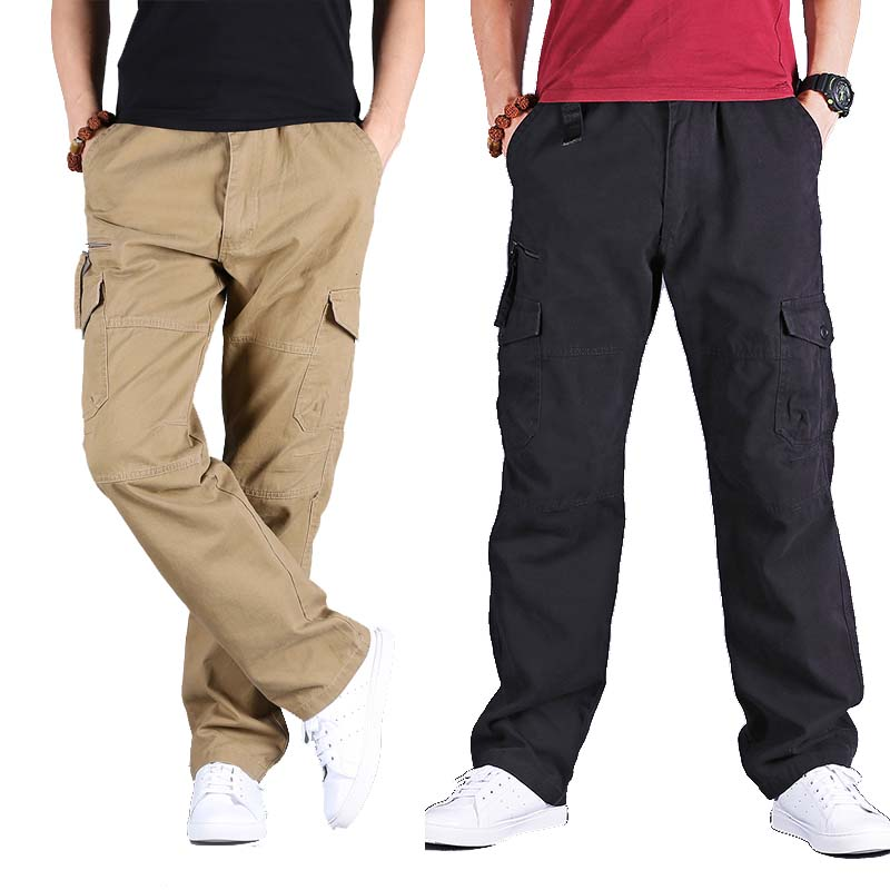 3184b4284db Men and Women Cargo Pants 8 Pocket Cotton Hip Hop Trousers Loose Baggy  Military Army Tactical Pants Wide Leg Joggers Plus Size