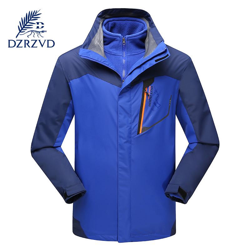 DZRZVD Outdoor Winter Ski Hiking Waterproof Hooded Jacket Men Two-Piece Large Size Windproof Warm Camping Fleece JacketDZRZVD Outdoor Winter Ski Hiking Waterproof Hooded Jacket Men Two-Piece Large Size Windproof Warm Camping Fleece Jacket