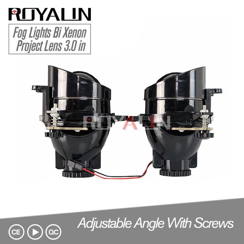 ROYALIN Adjustable Fog Lights H11 Projector Bixenon Bifocal Lamps Lens For Toyota Corolla Peugeot Citroen Prius D2S D2H Bulb DIY