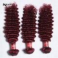 Grau 7a onda profunda extensões de cabelo virgem peruano 3 pcs muito vermelho borgonha kinky curly hair tecelagem 100g para sexy moda mulher