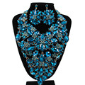 2017 Nova Jóia Banhado A Ouro Colar de Flores de Cristal Brincos para As Mulheres Festa de Casamento Beads Africanos conjuntos de Jóias LF-G012