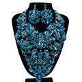 2017 Nueva Joyería Plateada Oro de La Flor de Cristal Collar Pendientes para Las Mujeres Del Banquete de Boda Perlas Africanas sistemas de La Joyería LF-G012