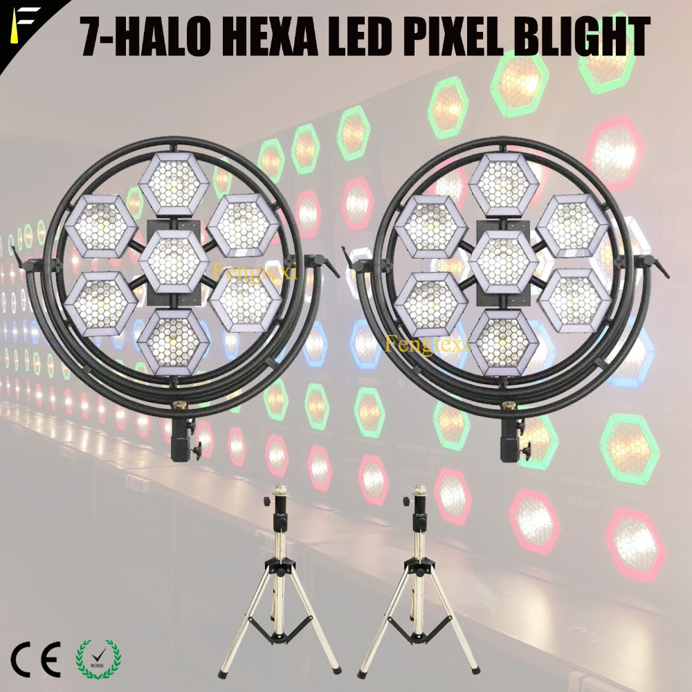 7 Halo Hexa COB LED Pixel Stage Studio Back Light DMX512 Warm/Cold Color 2in1 Hexagon Bee Eye Blight with Tripod&Flight Case image