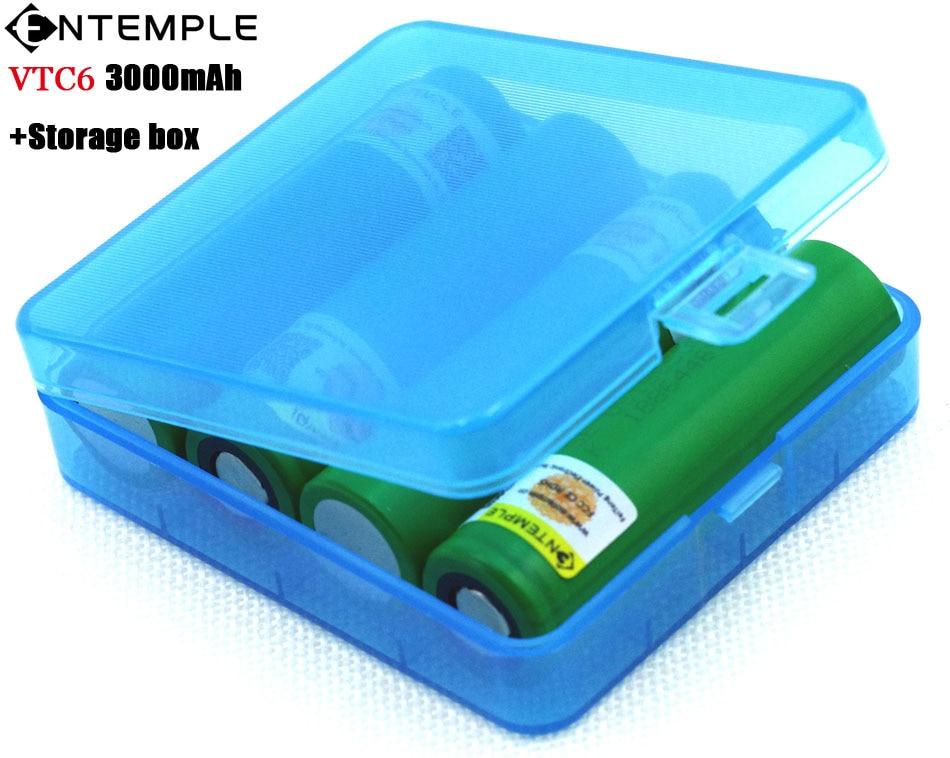 4PCS ENTEMPLE <font><b>VTC6</b></font> 3.7V 3000mAh <font><b>18650</b></font> Li-ion <font><b>Battery</b></font> 30A Discharge for Sony US18650VTC6 E-cigarette <font><b>batteries</b></font>+Storage Box