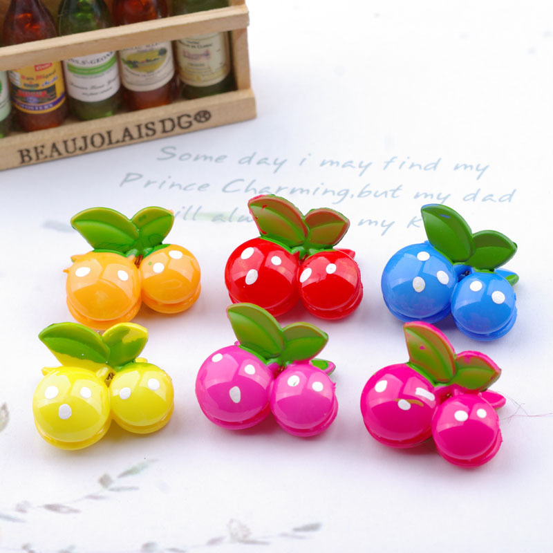 baby small gripper female claw  hairpin cherry clip  Barrettes  Child hair accessories side-knotted clip multicolor 12 colors cute girls hairpins children elsa side knotted clip hairpin hair clip small size hair accessories