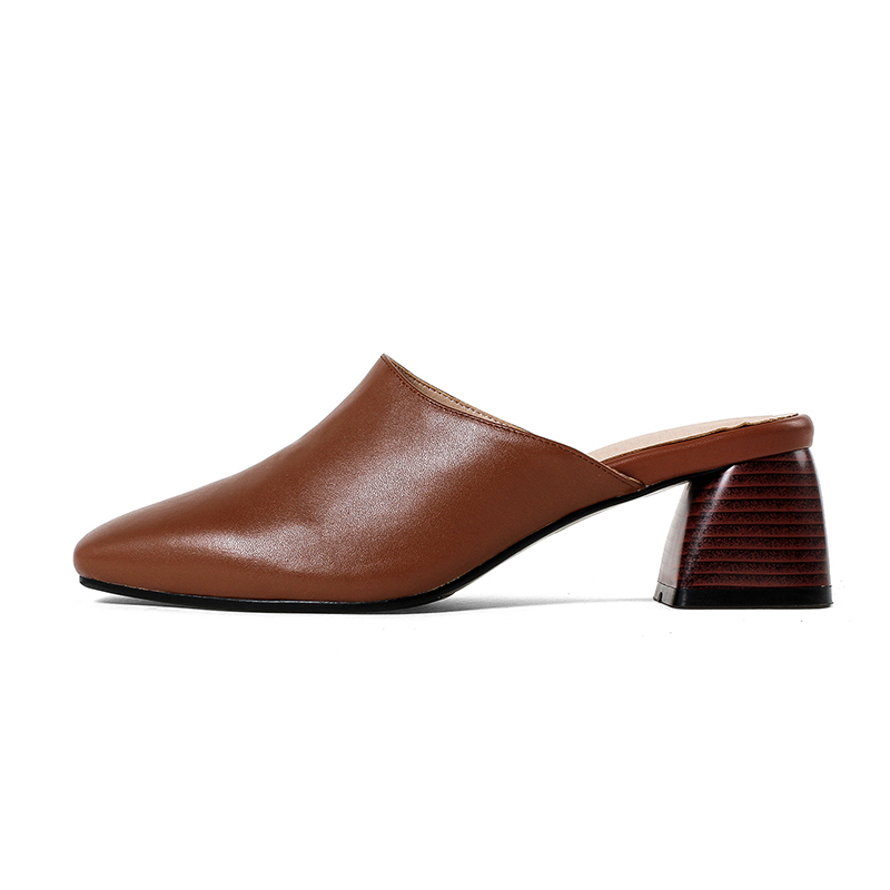ISNOM Thick High Heels Leather Women Slippers New Hoof Heels Slides Square Toe Footwear Summer Fashion Casual Ladies Mules Shoes