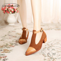 100% Genuine sheepskin leather yinzo lady designer vintage Pumps Sandals shoes handmade brown blue red oxford shoes for women