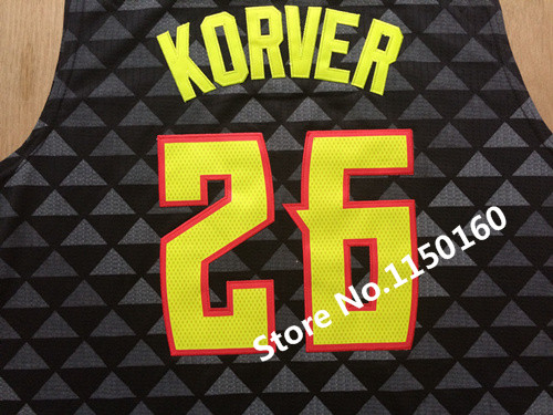 New Logo Kyle Korver Jersey 2016 New Design Atlanta 26 Kyle Korver  Basketball ... 14c1fd496