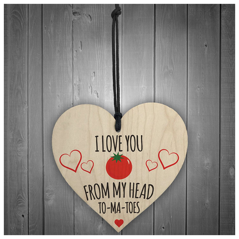 Горячие продажи люблю тебя из моей головы томатов новинка деревянный висит сердце доска Забавный Кухня знак